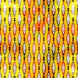 Bunte abstrakte geometrische Elemente auf einem nahtlosen Muster des gelben Hintergrundes vector Illustration Stockfoto