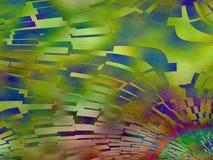Bunte abstrakte grün-blaue rote Plasmafliesenmalerei Stockbilder