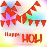 Bunte abstrakte Hintergrund- oder Grußkarte mit orange Flaggen für indisches traditionelles Festival Glückliches Holi-Plakat oder Lizenzfreie Stockfotos