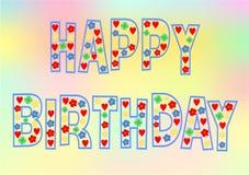 Bunte alles- Gute zum Geburtstagbeschriftung Stockfotografie