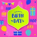 Bunte alles- Gute zum Geburtstaggrußkarte Stockfotografie