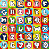 Bunte Alphabet-Zeichen und Zahlen Stockbild