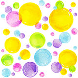 Bunte Aquarellblasen Altes gelbes Papier auf dunklem Hintergrund lizenzfreie abbildung