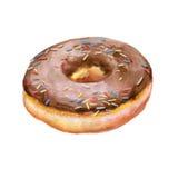 Bunte Aquarellmalerei des Donuts glasiert mit Schokolade und Süßigkeiten besprühend Stockfotografie