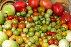Bunte Aubergine, Tomate im Korb Stockfotos