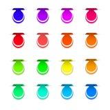 Bunte Aufkleber für Ihr Design auf weißem Hintergrund PR Stockfoto