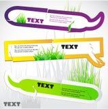 Bunte Aufkleber für Rede. Grünes Gras. Stockbild