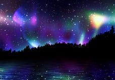 Bunte Aurora borealis Lizenzfreies Stockfoto