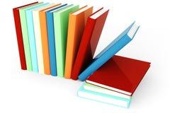 bunte Bücher 3d auf weißem Hintergrund Lizenzfreie Stockfotos