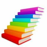 Bunte Bücher als Treppenhaus Stockbilder