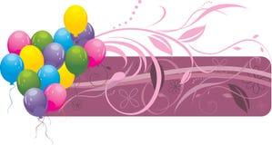 Bunte Ballone mit Blumenverzierung. Fahne Stockbilder