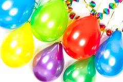 Bunte Ballons und Girlanden. Partydekoration Stockbild