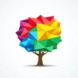 Bunte Baumikone Geometrisches Polygondesign Lizenzfreie Stockfotos