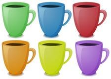 Bunte Becher mit Kaffee vektor abbildung