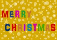 Bunte Beschriftung der frohen Weihnachten Stockbild