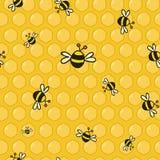 bunte Bienen des Vektors auf der Bienenwabe Stockbild