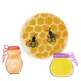 Bunte Bienen und Gläser Honig gezeichnet durch Bleistift, Aquarell und Acrylfarbe Stockfoto