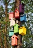 Bunte Birdhouses Einige Stücke Lizenzfreie Stockfotos