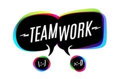 Bunte Blasen mit Text Teamwork vektor abbildung