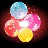 Bunte Blasen mit Weihnachtshintergrund und Grußkartenvektor lizenzfreie abbildung