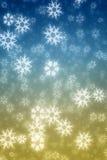 Bunte blaue und gelbe Schneeflocken Stockfoto
