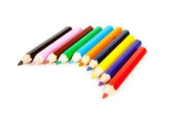 Bunte Bleistifte in einer Reihe Lizenzfreies Stockfoto