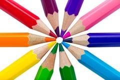 Bunte Bleistifte lokalisiert über Weiß Stockbilder