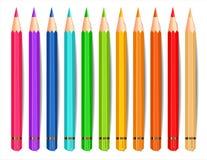 Bunte Bleistifte lokalisierter Vektor realistisch Kreative Hintergrundillustrationen lizenzfreie abbildung