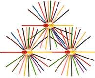 Bunte Bleistifte mit Bleistiftspitzer Lizenzfreies Stockfoto