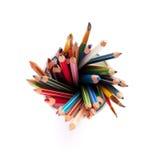 Bunte Bleistifte und Bürsten Lizenzfreies Stockfoto