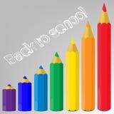Bunte Bleistifte und die Phrase zurück zu Schule Lizenzfreies Stockfoto