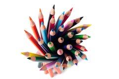 Bunte Bleistifte von oben Lizenzfreies Stockbild