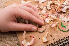 Bunte Bleistiftschnitzel in der Hand Stockbilder