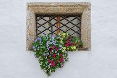 Bunte Blumen auf Fensteräußerem des alten europäischen Hauses Lizenzfreie Stockfotografie