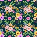 Bunte Blumen auf nahtlosem Muster des schwarzen Hintergrundes vektor abbildung