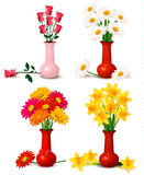 Bunte Blumen des Frühlinges und des Sommers in den Vasen Stockbild
