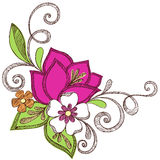 Bunte Blumen-flüchtige Notizbuch-Gekritzel stock abbildung