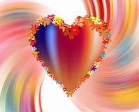 Bunte Blumen, Herz und Liebe auf klarem abstraktem Hintergrund lizenzfreie abbildung