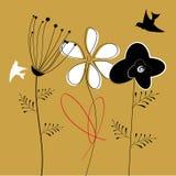 Bunte Blumen und Vögel Lizenzfreie Stockfotografie