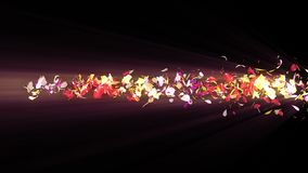 Bunte Blumenblätter Gewundene glänzende Blumenblätter von Blüten Kleine Blumensträuße mit Bögen Hübsches tanzendes Blumenblatt Tu lizenzfreie abbildung