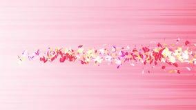 Bunte Blumenblätter Gewundene glänzende Blumenblätter von Blüten Kleine Blumensträuße mit Bögen Hübsches tanzendes Blumenblatt Tu stock abbildung
