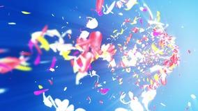 Bunte Blumenblätter Gewundene glänzende Blumenblätter von Blüten Kleine Blumensträuße mit Bögen Hübsches tanzendes Blumenblatt Tu stock video