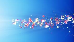 Bunte Blumenblätter Gewundene glänzende Blumenblätter von Blüten Kleine Blumensträuße mit Bögen Hübsches tanzendes Blumenblatt Tu stock video footage