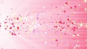 Bunte Blumenblätter Gewundene glänzende Blumenblätter von Blüten Kleine Blumensträuße mit Bögen Hübsches tanzendes Blumenblatt Tu stock footage