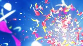Bunte Blumenblätter Gewundene glänzende Blumenblätter von Blüten Kleine Blumensträuße mit Bögen Hübsches tanzendes Blumenblatt Tu vektor abbildung