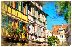 Bunte Blumenstadt Colmar in Elsass, Frankreich Retro- angeredetes pict Stockfotografie