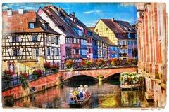 Bunte Blumenstadt Colmar in Elsass, Frankreich Retro- angeredetes pict Stockfoto
