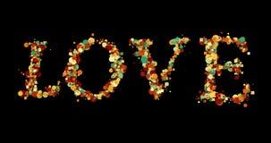 Bunte bokeh Liebes-Wortform schreiben auf schwarzen Hintergrund, das Valentinstagfeiertagsereignis, das mit Alpha, Kanal festlich stock abbildung