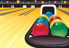 Bunte Bowlingspielkugeln Stockfotografie