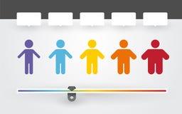 Bunte Charaktere mit unterschiedlichem Gewicht Lizenzfreie Stockfotografie